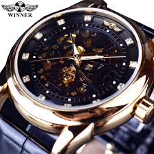 top designer watches reviews online shopping top designer winner royal diamond design black gold watch montre homme mens watches top brand luxury relogio male skeleton mechanical watch