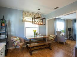 dining room engaging decorating ideas using cream motif roman shades and rectangular brown wooden tables
