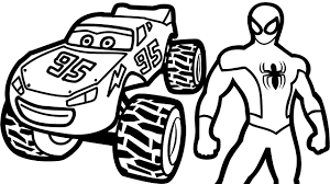 Small Picture Lightning Mcqueen Monster Truck and Spiderman Coloring Pages For