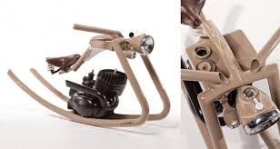 kids rocking horse made from old motorcycle parts wired