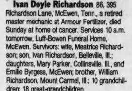 Obituary for Ivan Doyle Richardson (Aged 86) - Newspapers.com