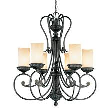millennium lighting brunswick 27 5 in 6 light burnished gold wrought iron tinted glass candle