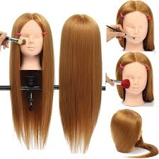 26 long hair mannequin head model hairdressing makeup practice with cl holder