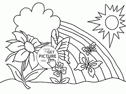 Spring Rainbow Coloring Page For Kids
