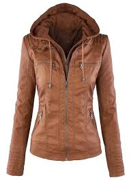 women s faux leather jacket with detachable hood azbro com loading zoom