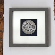 a brilliant gift for a tenth wedding anniversary handsted up cycled tin mounted on heavy dark blue denim in a grey frame personalised of course