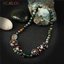 kcaloe vintage handmade chokers necklaces for women natural india onyx crystal pendant necklace beaded jewelry colar