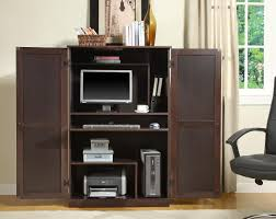 contemporary computer armoire with shelves on wooden floor and rug plus chair for home office decoration