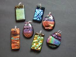 dichroic pendants with twist silver bails