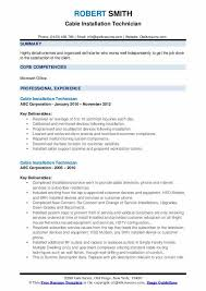 Cable Installation Job Cable Installation Technician Resume Samples Qwikresume