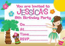 Hawaiian Party Invitations Ebay