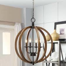 rustic orb chandelier lamp wood pendant lighting candle large round with wooden design 9