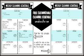 Examples Of Cleaning Schedules Weekly Customizable Cleaning Schedule Printable And Video