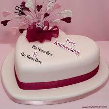 Write Name Happy Anniversary Heart Cake