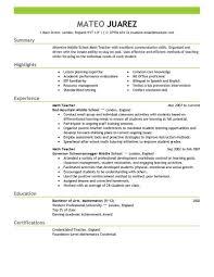 Sample Resumes For Teachers Resume Work Template