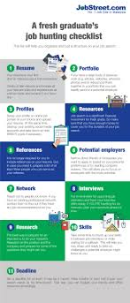how to do job search a fresh graduates first job hunting checklist infographic