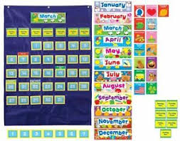 Details About Carson Dellosa Ages 4 11 Deluxe Calendar Pocket Chart Weekly Monthly Yearly