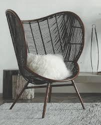 modern rattan furniture. modern wing back curved dark rattan chair furniture