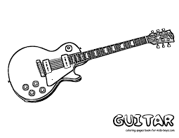 electric rock and roll guitar coloring sheet at yescoloring cool inside pages to