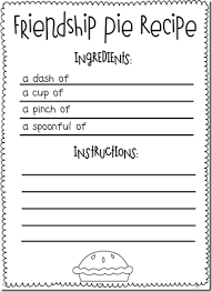 friendship recipe template. Friendship activity to go with the book Enemy Pie Teaching Ideas