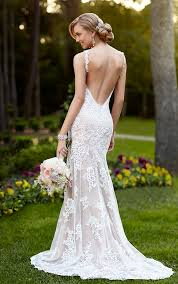 Backless Wedding Dresses V Neck Wedding Gown With Open Back