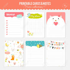 Cute Template Cute Cards Notes And Stickers With Spring And Summer Illustrations