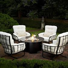 outdoor garden gorgeous wrought iron patio furniture set showing round coffee table with center