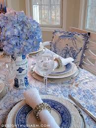 but that doesn t mean that you can t add a little chic french styling to your table this tablescape included a blue and white french toile tablecloth