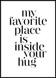 Typografie Poster Mit Dem Zitat Hugs Poster Für Rahmen