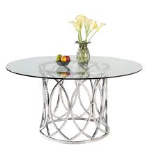 somette colette round stainless steel silver dining table