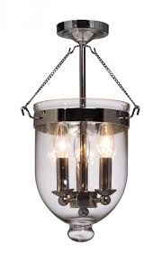 three light chrome blown clear glass foyer hall semi flush mount
