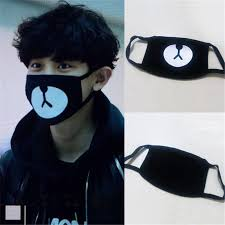 Style Anti-Dust Lucky Bear <b>Cotton Mouth Face</b> Mask <b>Black</b> Cute ...