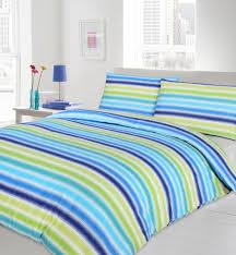 blue lime turquoise colour bedding duvet cover reversible stripes