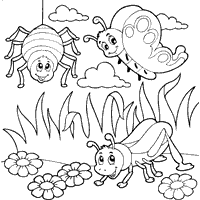 Small Picture Tribal Insects Coloring Coloring Pages