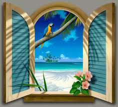 realistic window drawing. window to paradise realistic drawing 4