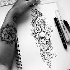 эскиз татуировки цветы черно белые 45048 тату салон дом элит тату