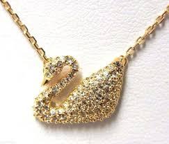 swarovski crystal gold plated swan necklace 5063921