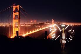 light painting over the golden gate bridge