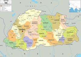 detailed political map of bhutan  ezilon maps