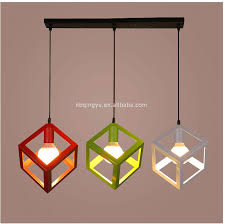 colorful metal iron wire cage shade pendant light with 3 light set