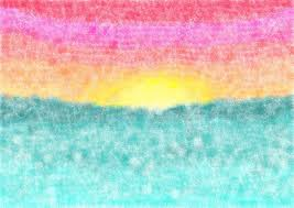 A background of a watercolor sunset at sea done in a sponge technique Stock  Photo -