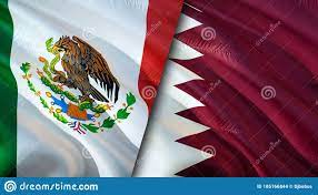 Mexico And Qatar Flags. 3D Waving Flag ...