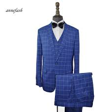 Suit Pattern Custom Custom Made Men Windowpane Check Pattern Suits Classic Men Slim Fit