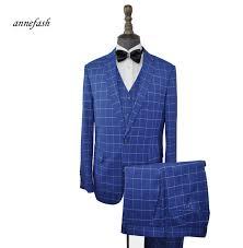 Suit Pattern Custom Custom Made Men Windowpane Check Pattern Suits Classic Men Slim Fit
