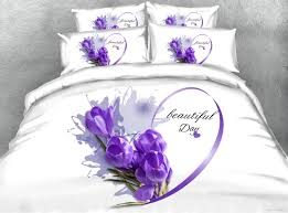 purple fl 3d printed bedding sets twin full queen king cal king dovet cover set pillow shams flowers home textiles women comforter set duvet covers sets