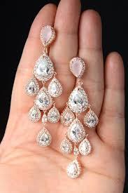 rose gold chandelier bridal earrings wedding earrings crystal long bridal earrings wedding jewelry long crystal stud earrings
