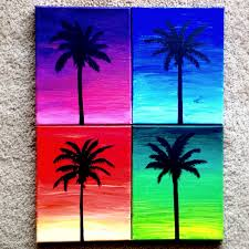 items similar to palm tree silhouettes on bright sunset variations 4 piece acrylic painting on