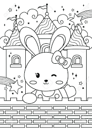 Cute rabbit black and white clipart. Bunny Princess In The Castle Coloring Pages Kids Coloring Book Royalty Free Cliparts Vectors And Stock Illustration Image 147651358