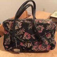 carpet bag purse. vintage 1950s 60s large needlepoint carpet bag purse handbag floral
