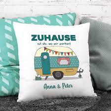 Camping Kissen Mit Wohnwagen Und Wunschtext